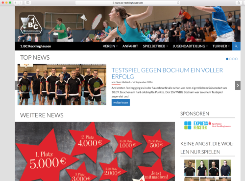 Screenshot www.bc-recklinghausen.de